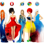Die Internet Browser Firefox, Opera, Internet Explorer, Chrome und Safari als Artwork in Abendkleidern