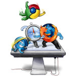 Die Internet Browser Firefox, Opera, Internet Explorer, Chrome und Safari als Artwork in einer Kampfszene