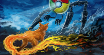 Internet Browser Chrome und Firefox als Artwork Cyberwar
