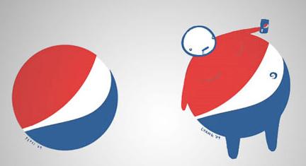 Pepsi Logo mit Spass Zeichnung