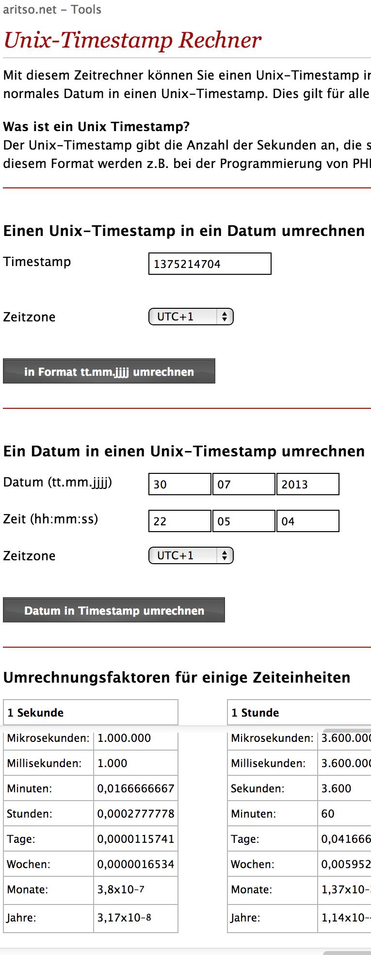 Php unix timest online rechner