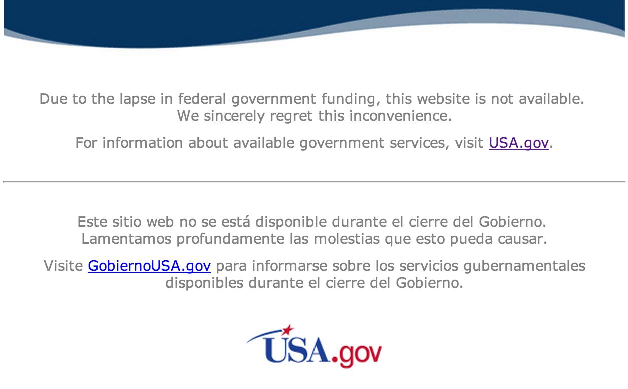 Shutdown usa offizielle webdesign internetseite der nasa seit über