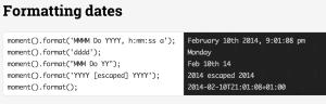 NodeJS Moment.js Datum Formatierung