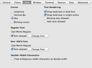 iTerm2 Profile settings font