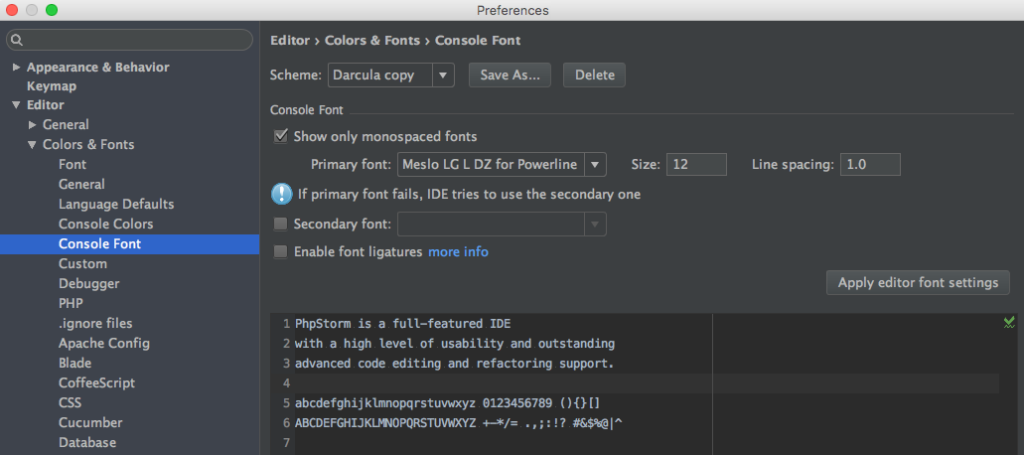 PhpStorm und oh-my-zsh font setting