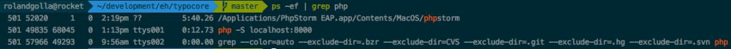 Stop kill PHP-Server Mac
